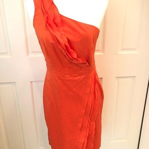 Orange one shoulder ruffled dress sz 6